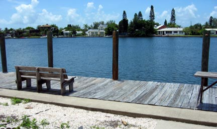Dock, bench has been removed.